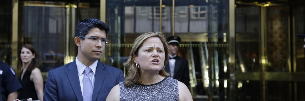 New York City Council Speaker Melissa Mark-Viverito, with City Councilman Carlos Menchaca, speaks at a news conference outside Trump Tower in New York, Monday, June 6, 2016. She was speaking out against comments made by Republican presidential candidate Donald Trump regarding Judge Gonzalo Curiel. Trump said the U.S. District Court Judge can't be impartial in the lawsuits regarding Trump University because his parents were born in Mexico and Trump wants to build a wall along the border. (AP Photo/Mark Lennihan)
