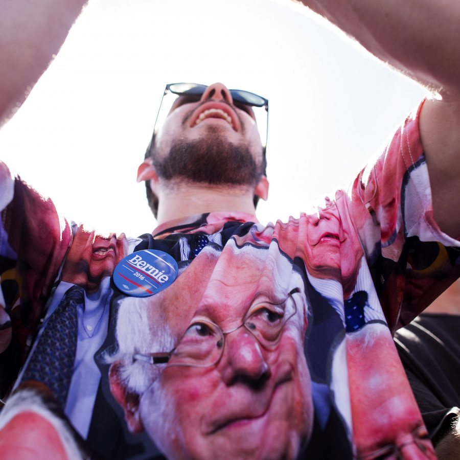 Connor Anderson cheers for Democratic presidential candidate Sen. Bernie Sanders, I-Vt., during a campaign rally at the Cubberley Community Center on Wednesday, June 1, 2016, in Palo Alto, Calif. (AP Photo/Noah Berger)