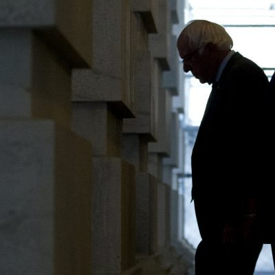 Democratic presidential candidate Sen. Bernie Sanders, D-Vt., departs the Capitol in Washington, Thursday, June 9, 2016. (AP Photo/Alex Brandon)