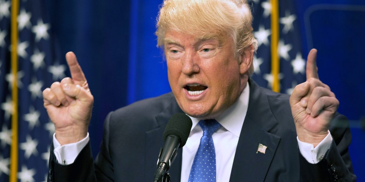 Republican presidential candidate Donald Trump speaks at Saint Anselm College Monday, June 13, 2016, in Manchester, N.H. Trump attacked Hilary Clinton by name in his speech in the aftermath of the Orlando shooting. Clinton did not mention Trump by name in her speech an hour earlier. During the national security speech, Trump repeatedly criticized Clinton's immigration plan, her attempts to tighten the nation's gun control laws and for not using the phrase