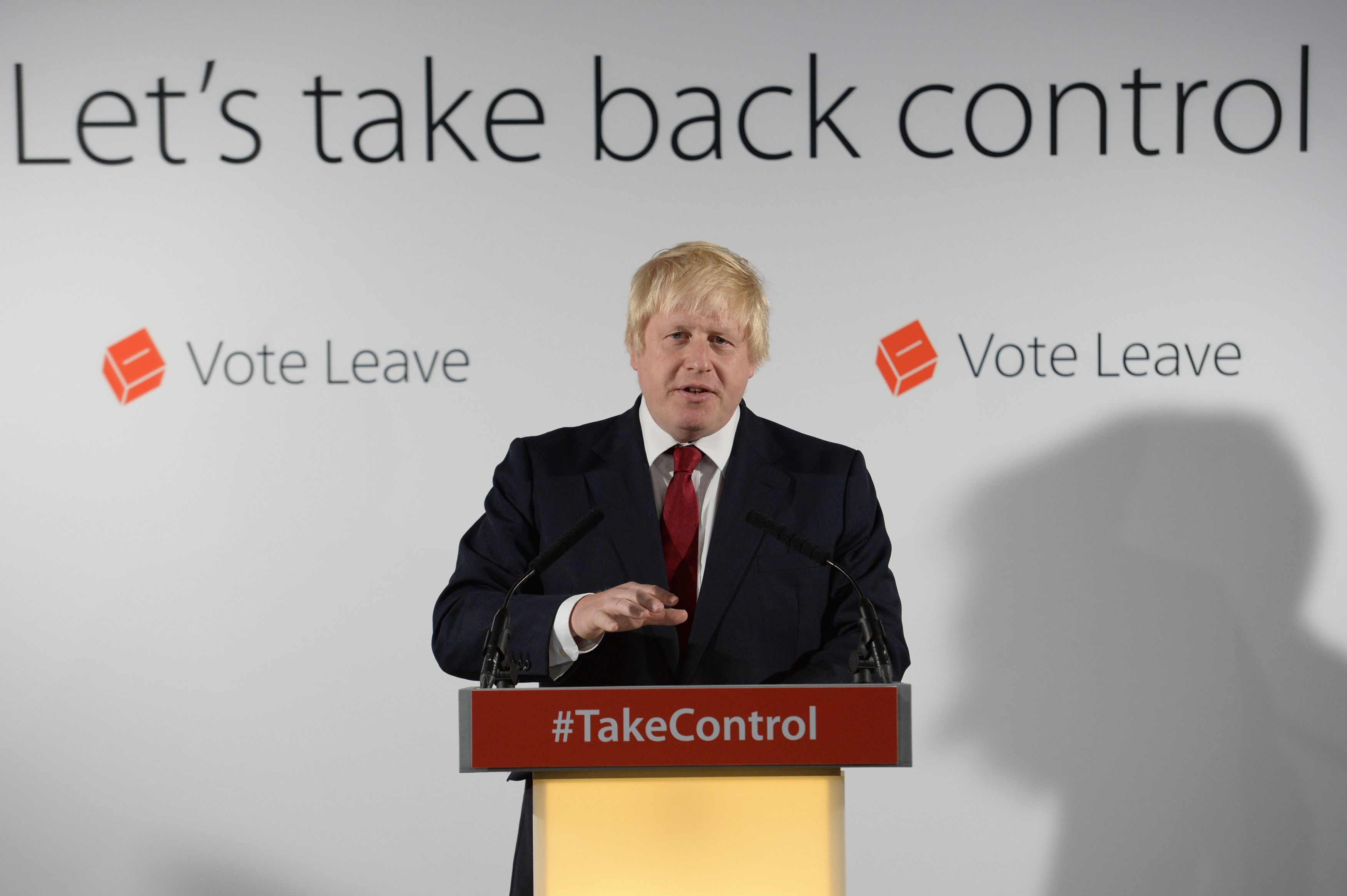 Vote Leave campaigner Boris Johnson holds a press conference at Vote Leave headquarters in London Friday June 24, 2016. Britain's Prime Minister David Cameron announced Friday that he will quit as Prime Minister following a defeat in the referendum which ended with a vote for Britain to leave the European Union. (Stefan Rousseau/Pool via AP)