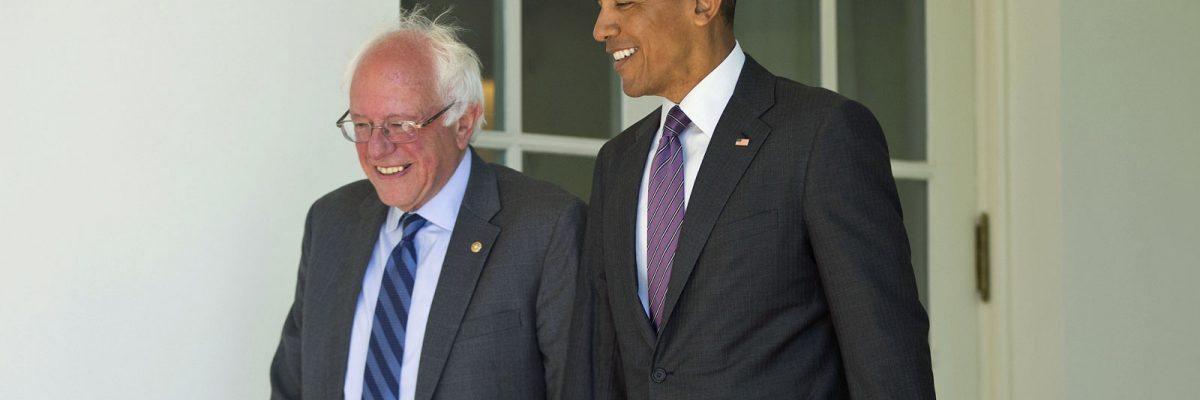 Barack Obama y Bernie Sanders en la Casa Blanca