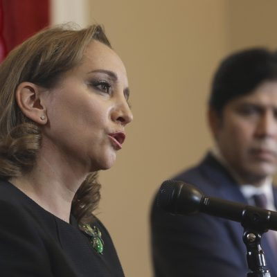 Claudia Ruiz Massieu, secretary of Foreign Affairs for Mexico, answers a question during a joint news conference with California Senate President Pro tem Kevin de Leon, D-Los Angeles, at the Capitol, Thursday, May 5, 2016, in Sacramento, Calif. Ruiz Massieu and de Leon talked to reporters about the economic and cultural ties between California and Mexico. (AP Photo/Rich Pedroncelli)