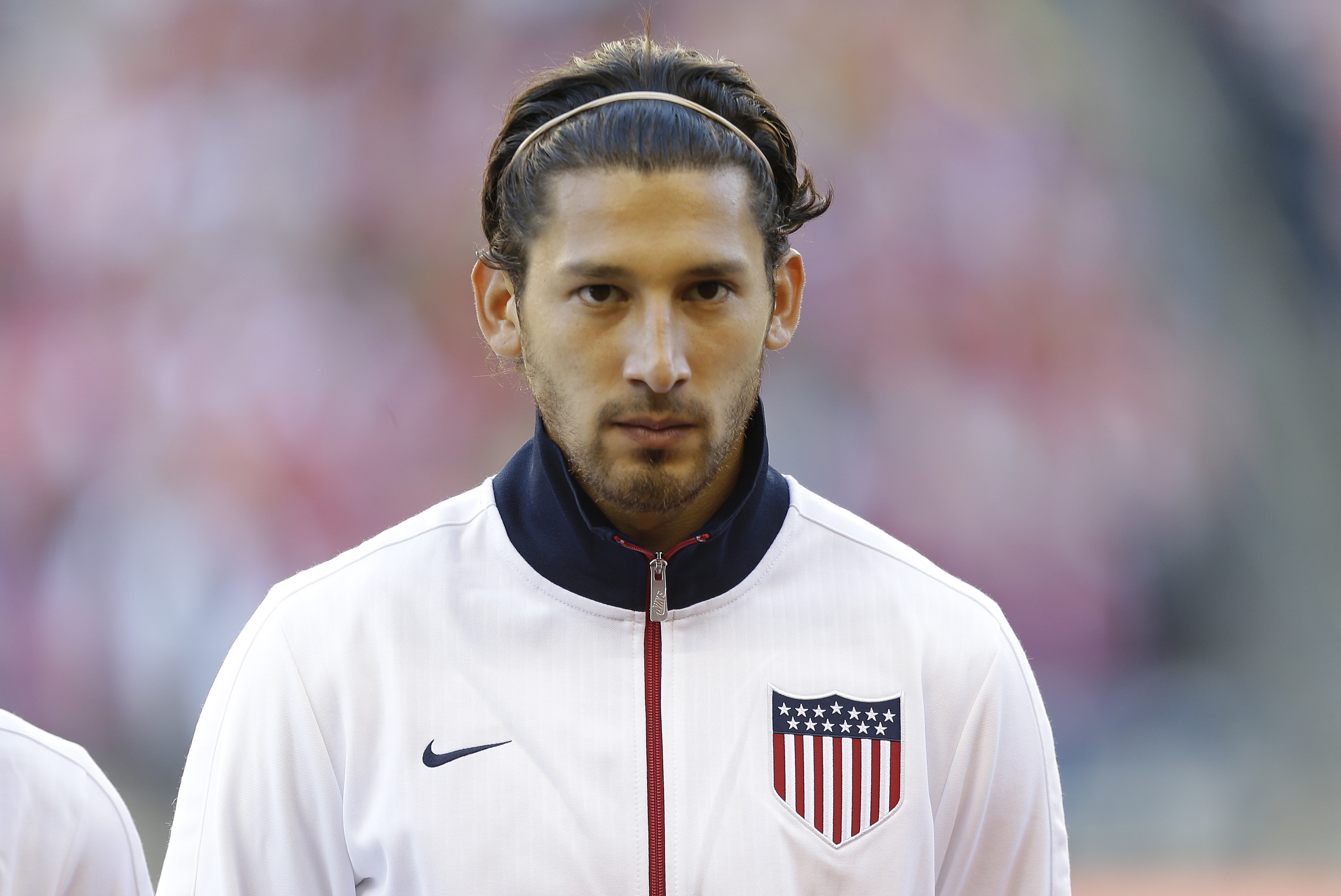 USA's Omar Gonzalez stands during player introductions before a World Cup qualifier soccer match against Panama, Tuesday, June 11, 2013, in Seattle. (AP Photo/Ted S. Warren)