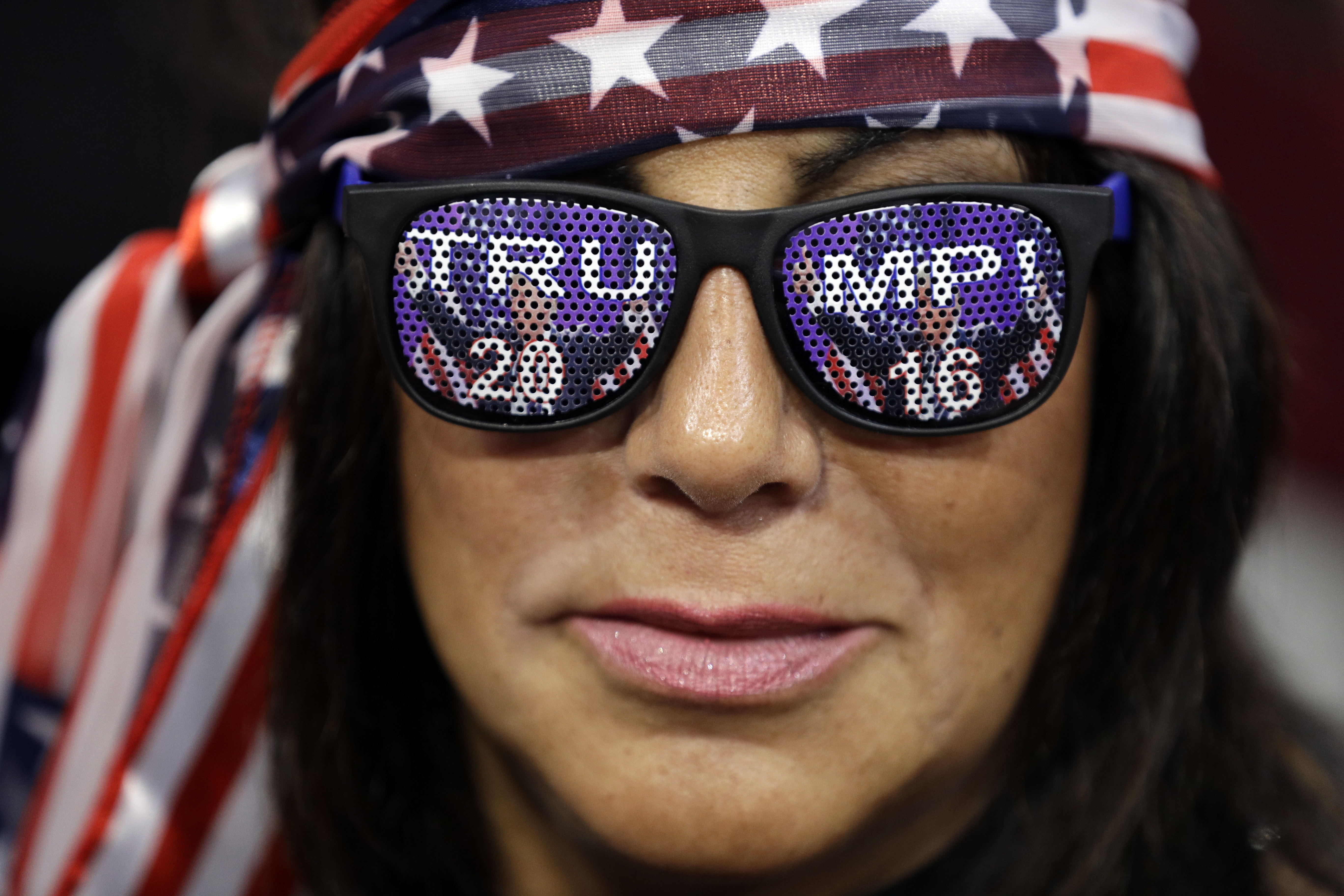 Diane Pennacchio from Montville, N.J., waits for the final day of the Republican National Convention in Cleveland, Thursday, July 21, 2016. (AP Photo/John Locher)