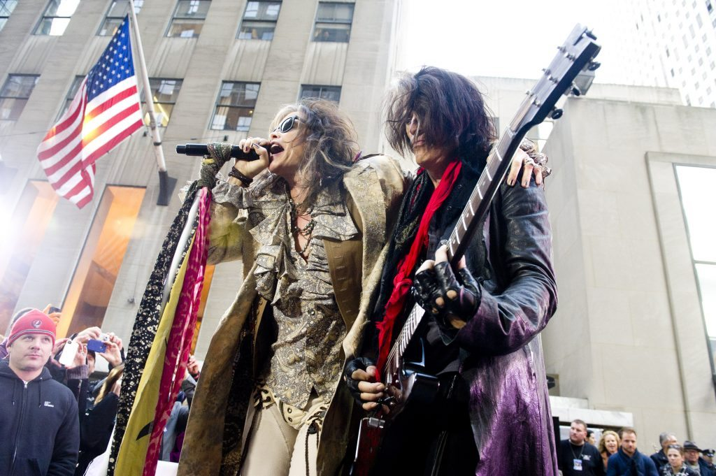 "Steven Tyler, left, and Joe Perry of Aerosmith perform on NBC's ""Today"" show on Friday, Nov. 2, 2012 in New York. (Photo by Charles Sykes/Invision/AP)"