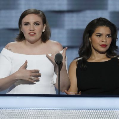 Actresses Lena Dunham and America Ferrera speak during the second day of the Democratic National Convention in Philadelphia , Tuesday, July 26, 2016. (AP Photo/J. Scott Applewhite)