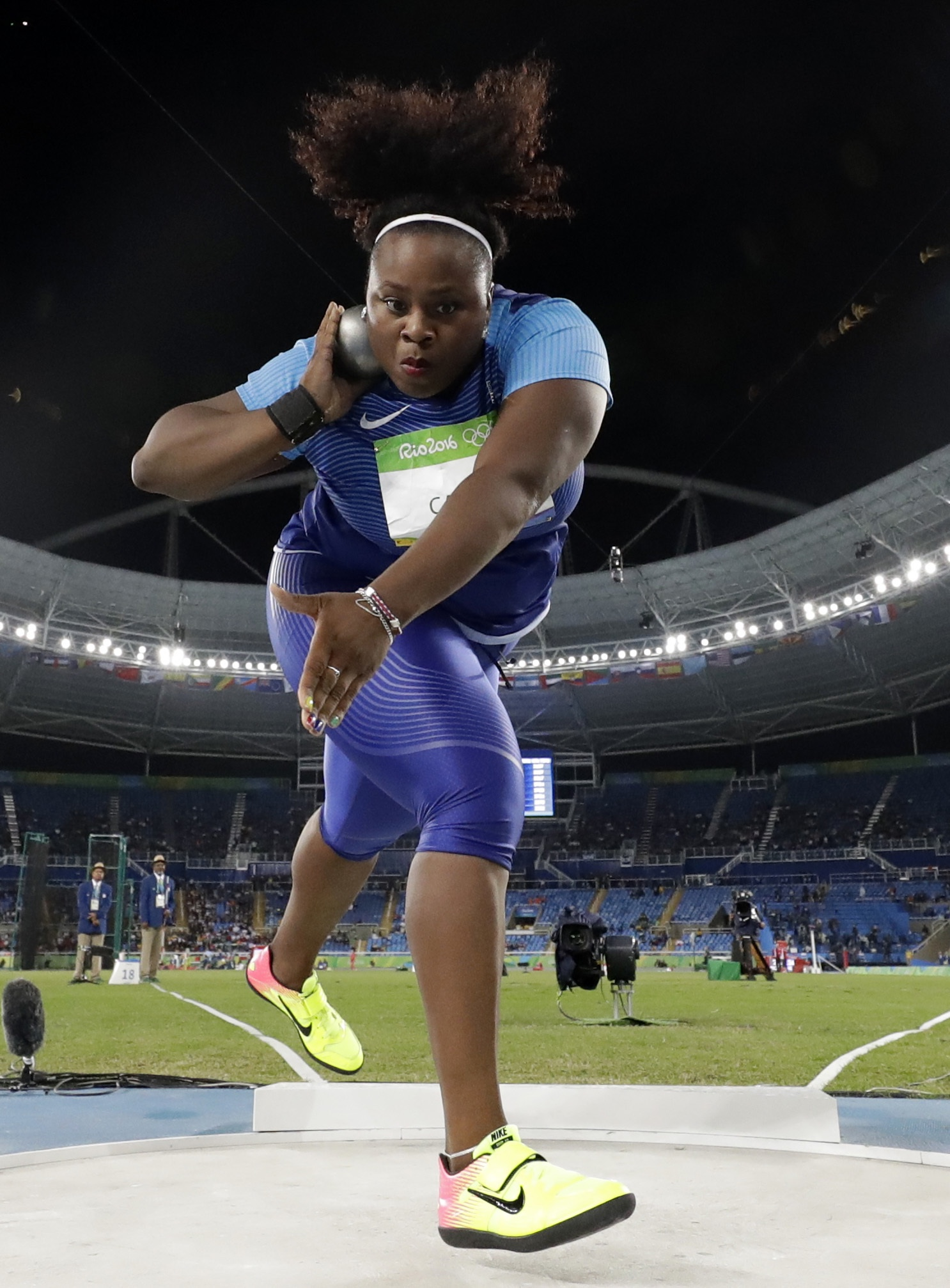 United States' Michelle Carter competes in the final of the women's shot put during the athletics competitions of the 2016 Summer Olympics at the Olympic stadium in Rio de Janeiro, Brazil, Friday, Aug. 12, 2016. (AP Photo/Matt Dunham)