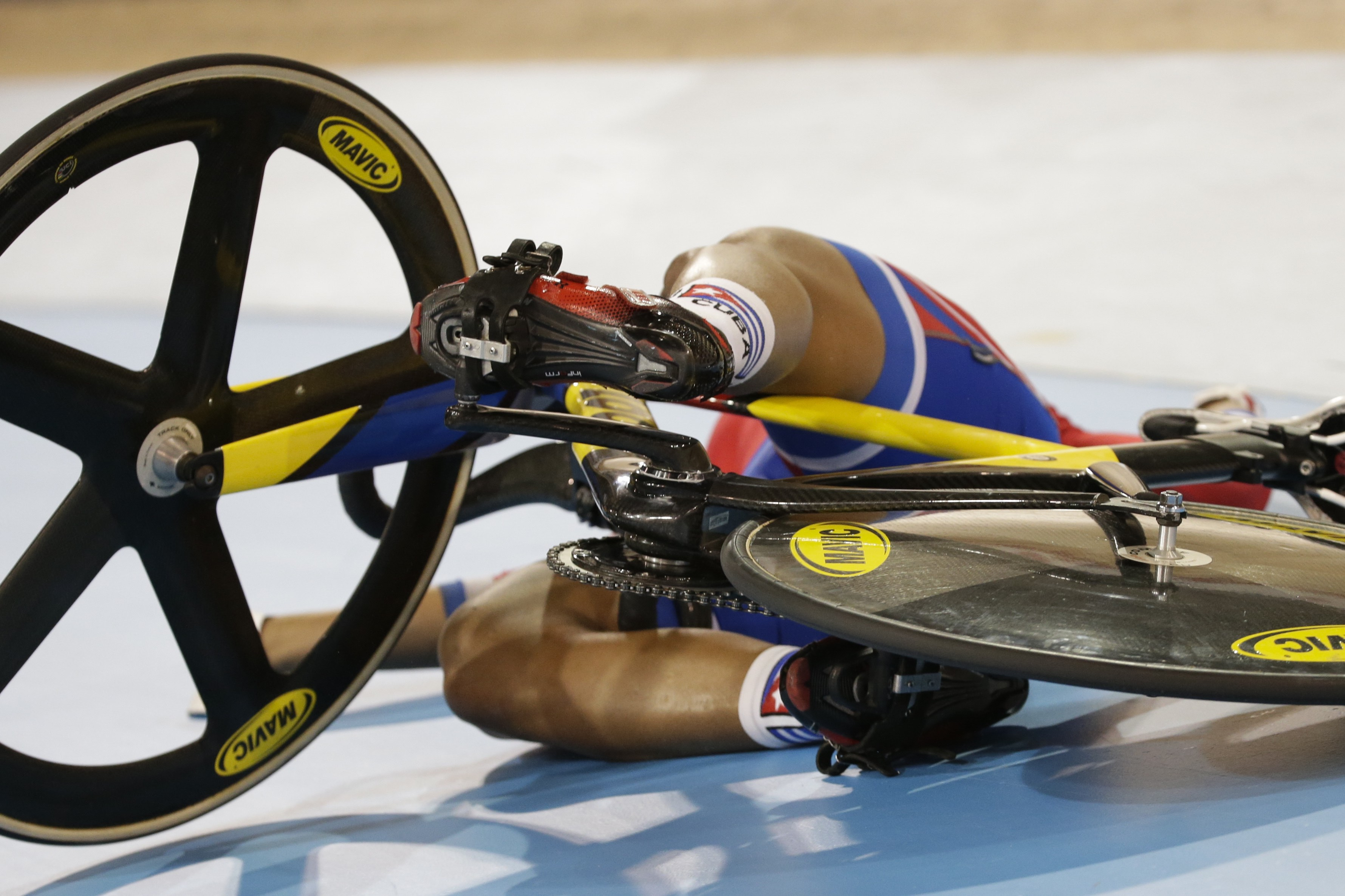 XXX's XX pedals during the XXmen's XX track cycling competition at the Pan Am Games in Milton, Ontario, Saturday, July 18, 2015. (AP Photo/Felipe Dana)