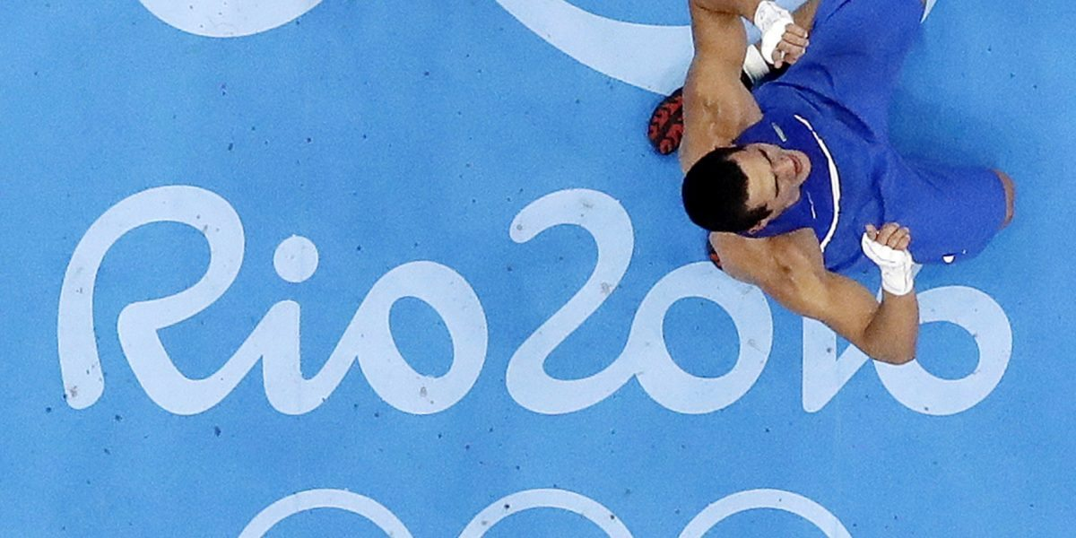 Brazil's Michel Borges, right, reacts after winning a match against Croatia's Hrvoje Sep during a men's light heavyweight 81-kg preliminary boxing match at the 2016 Summer Olympics in Rio de Janeiro, Brazil, Wednesday, Aug. 10, 2016. (AP Photo/Frank Franklin II)