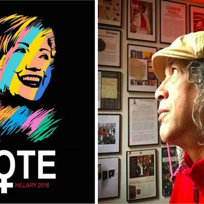 #ImWithHer: Artista dominicanole saca los colores a Hillary Clinton