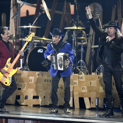 Los Tigres del Norte and Mana perform a medley at the 16th annual Latin Grammy Awards at the MGM Grand Garden Arena on Thursday, Nov. 19, 2015, in Las Vegas. (Photo by Chris Pizzello/Invision/AP)