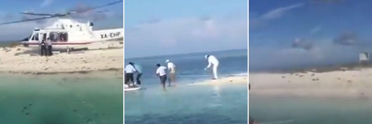 Gamboa Patrón aterriza en arrecife protegido para disfrutar su