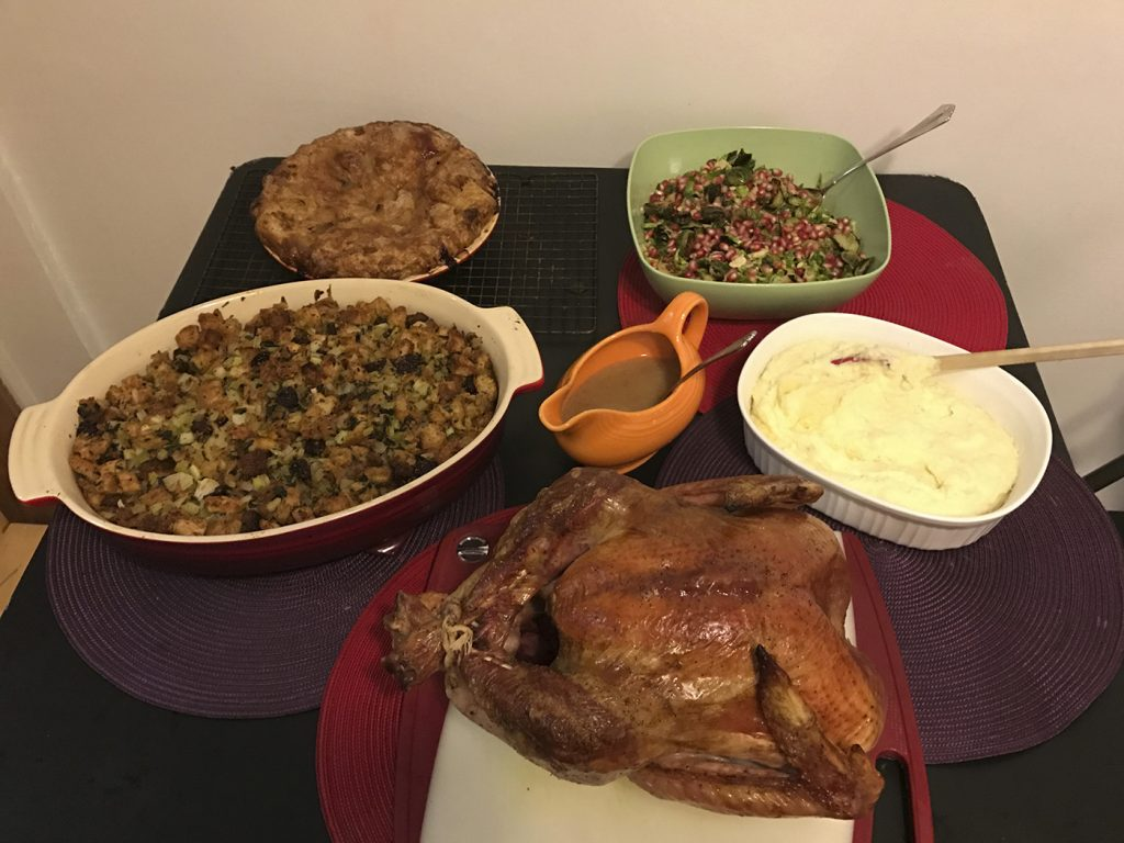 This Oct. 14, 2016, photo shows food from a Thanksgiving dinner from Martha & Marley Spoon in New York. For $120, or $180 which includes an 11-15 pound free-range turkey, Martha & Marley Spoon will ship just about everything you need to cook a decadent Thanksgiving dinner for eight to 10 people. (AP Photo/Bree Fowler)
