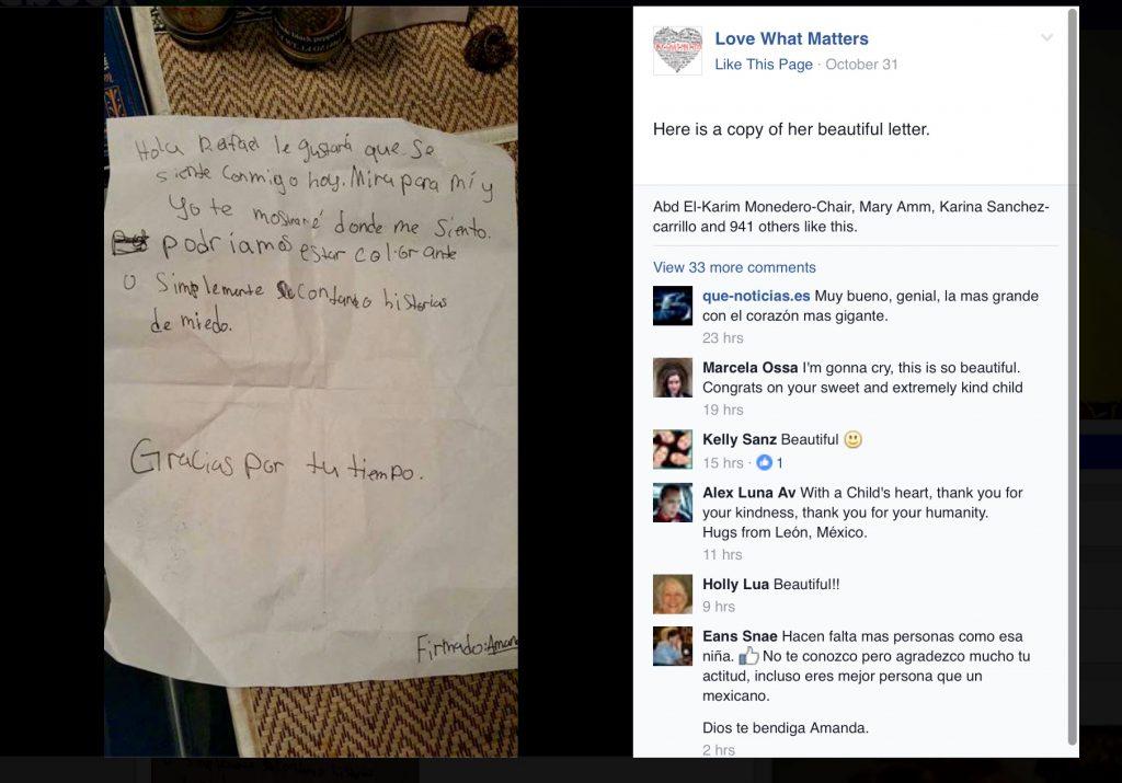 Carta escrita por Amanda Moore para Rafael Anaya (Foto tomada de Facebook)