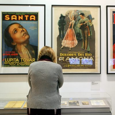 Classic film posters featuring Lupita Tovar and Dolores del Rio are showcased at LA Plaza de Cultura y Artes, a center of Mexican American culture and arts  seen adjacent to historic Olvera Street downtown Los Angeles Wednesday, April 13, 2011. With an exhibit that includes interactive materials, crosses, letters, paintings, a small canon and other historical artifacts, the first cultural center in Los Angeles dedicated to the Mexican and Mexican American heritage will open to the public on Saturday, April 17. (AP Photo/Damian Dovarganes)