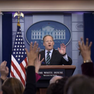 White House press secretary Sean Spicer speaks during the daily briefing at the White House in Washington, Wednesday, Jan. 25, 2017. Spicer answered questions about immigration, homeland security and other topics. (AP Photo/Susan Walsh)