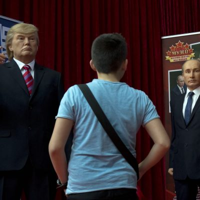 Wax models of US President Donald Trump, left, and Russian President Vladimir Putin, right, displayed in the wax museum in Sofia, Friday March 31, 2017.  The wax figures of both leaders and other international personalities are part of a visiting exhibition from the Retro Museum from the Black Sea town of Varna, going on show to the public for the first time on Saturday. (AP Photo/Valentina Petrova)