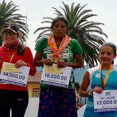 Ganadora del maratón en México.