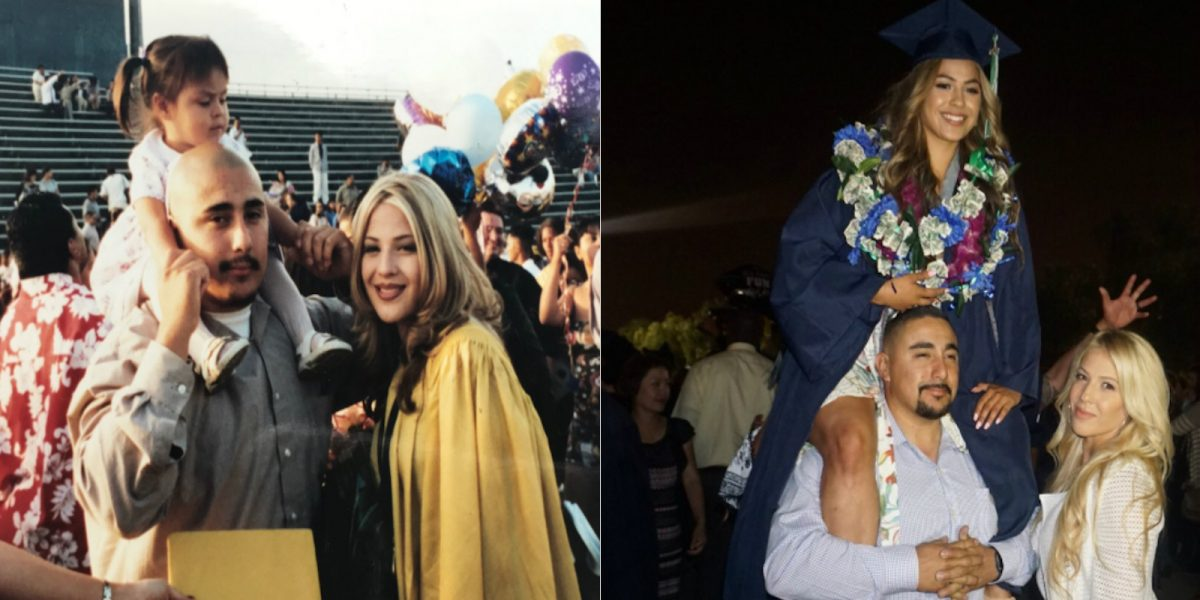 Latina repite la foto de graduación de su madre de hace 17 años.