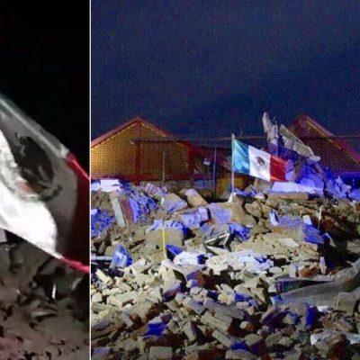 #FuerzaMéxico: Un hombre y una bandera muestran que México está unido tras el terremoto