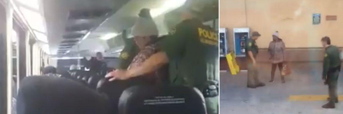 """#Aguas: Exhiben a """"La Migra"""" pidiendo papeles en los autobuses Greyhound"""