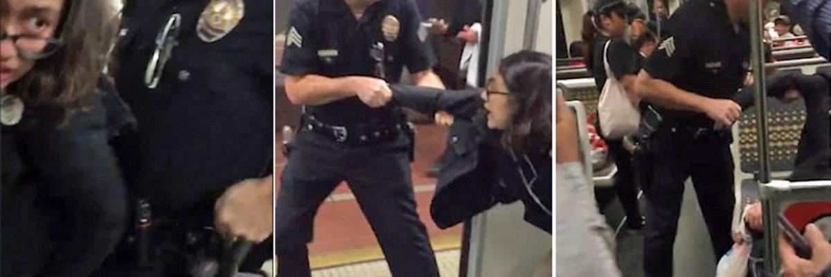 #Abusivos: LAPD arresta brutalmente a joven por subir los pies al asiento del tren