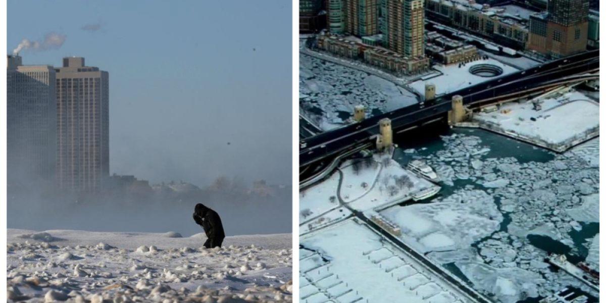 Las increíbles fotos que muestran cómo el intenso frío congeló a Chicago