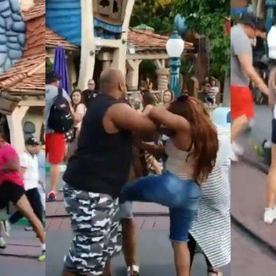 Captan el momento en que un hombre noquea a mujer en Disneylandia (VIDEO)