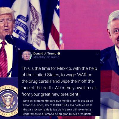 """Donald Trump se ofrece para iniciar """"guerra"""" contra la delincuencia en México"""
