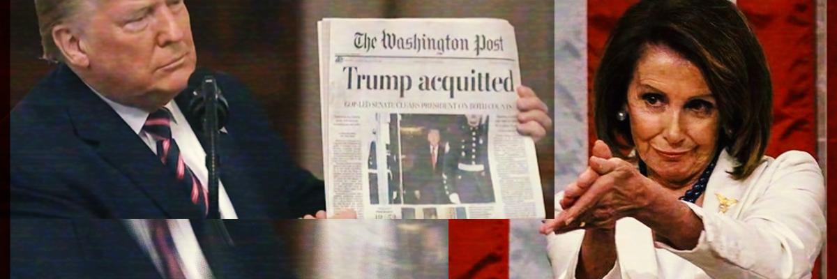 """Trump hizo un """"reality show"""" con mensaje a la nación: Pelosi; Él celebra absolución"""